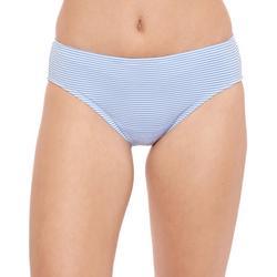 Womens Striped Mid-Rise Swim Bottoms