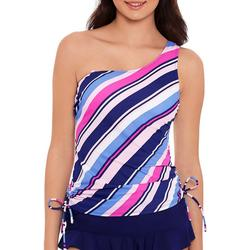 Womens Striped Side Tie Swim Top
