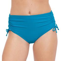 Womens Solid Adjustible Ruched Swim Bottoms