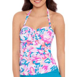 Beach Native Womens Floral Twist Front Bandeau Tankini Top