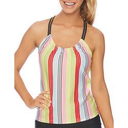 Womens Bright Stripes Crossover Strap Tankni Top