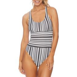 Womens Stripe Maillot  One Piece Swimsuit