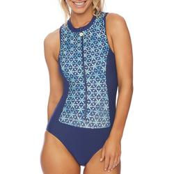 Womens Colorblock Print Zip Up One Piece Swimsuit