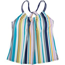 N BY NEXT Womens Striped Crossover Strap Tankni
