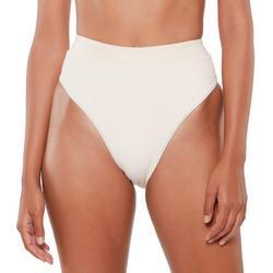 Womens Solid Textured Brief Swim Bottom