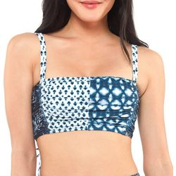 Jessica Simpson Womens Batik Back Laced Bandeau Swim Top
