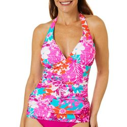 Into the Bleu Womens Tropical Fever Halter Tankini Top