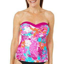 Into the Bleu Womens Tropical Fever Bandeau Tankini Top