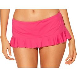Womens Solid Ruffle Edged Swim Skirt