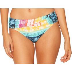 Womens Tie Dye Foldover Swim Skirt