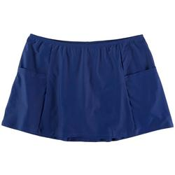 Womens Solid Pocketed Swim Skirt