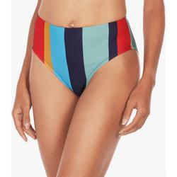 Womens Croquet High Waist Striped Bikini Bottoms