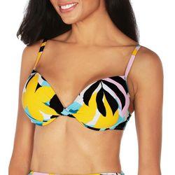 Tahari Womens Bold Floral Twist Front Bikini Top