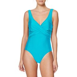 Tahari Womens Solid Suplice Wrap One Piece Swimsuit