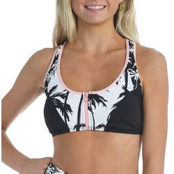 Hobie Juniors Palm Print Zippered Front Swim Top