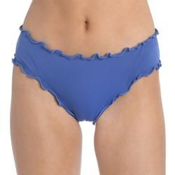 Juniors Solid Ruffle Trim Ruched Swim Bottoms