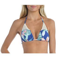 Juniors Tropical Print Triangle Swim Top