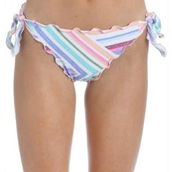 Juniors Striped Ruffle Swim Bottoms