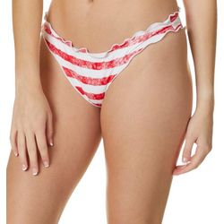 Juniors Patriotic Stripes Hipster Swim Bottoms