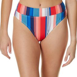 Juniors Verticle Stripe High Waisted Swim Bottoms