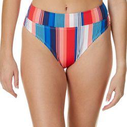 Juniors Verticle Stripe High Waisted Swim Bottoms