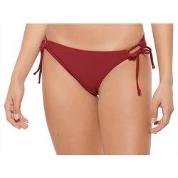 Juniors Solid String Tie Scruched Swim Bottoms