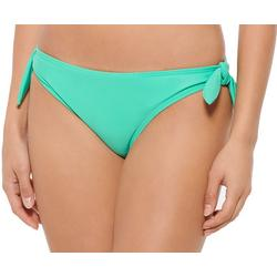 Juniors Solid Side Tie Scruched Swim Bottoms