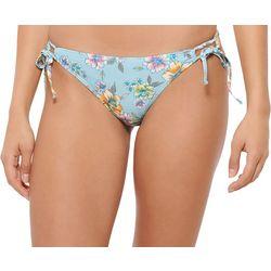 Juniors Floral Side Tie Hipster Swim Bottoms