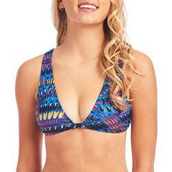 Juniors Tahitian Print Corset Back Swim Top