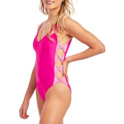 Cyn & Luca Juniors Neon Bow Detail One Piece Swimsuit