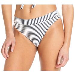 Juniors Striped Hi-Waist Swim Bottoms