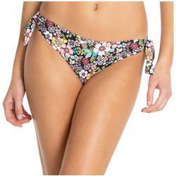 Juniors Brooke Retro Floral Side Tie Swim Bottoms