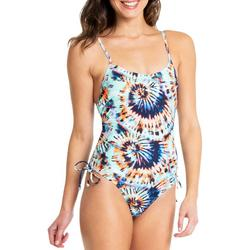 Juniors Tie Dye Ruched One Piece Swimsuit