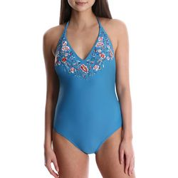 Wallflower Juniors Emily Embroidered  One Piece Swimsuit