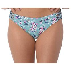 Juniors Molly Floral Netted Side Swim Bottoms