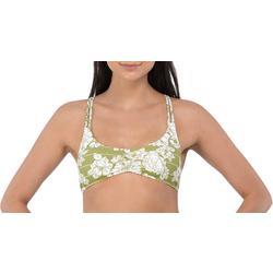 Juniors Floral Stripe Crisscross Back Swim Top