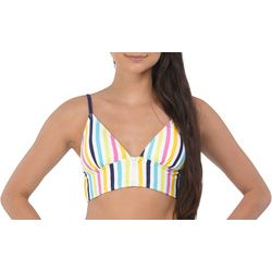 Wallflower Juniors Zara Stripe Zip Front Swim Top
