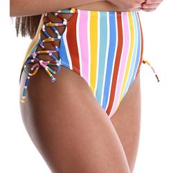 Juniors Striped High Waist Swim Bottoms