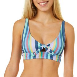 Juniors Moon Stripe Knot Bralette Swim Top