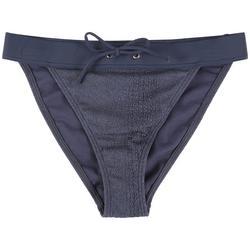 Juniors Solid Textured Hi-Leg Swim Bottoms