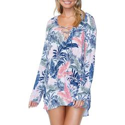 Womens Tropical Hooded Lace Up Neck Kaftan Cover-Up