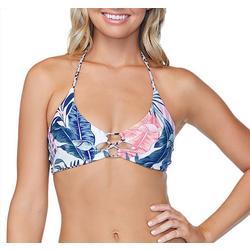 Juniors Costa Leopard Lace Front Swim Top