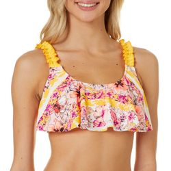Island Soul Juniors Floral Stripe Double Ring Swim Top