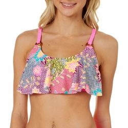 Island Soul Juniors Patchwork Floral Flounce Swim Top
