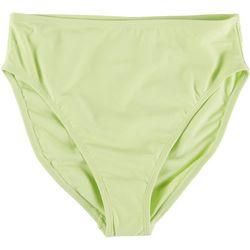 Island Soul Juniors Solid High Waist French Cut Swim Bottoms