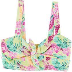 Island Soul Juniors Floral Tie Front Longline Swim