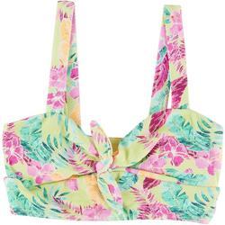Juniors Floral Tie Front Longline Swim Top