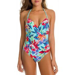 Juniors Tropical Halter One Piece Swimsuit