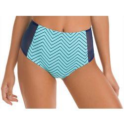 KIKI RIO Juniors Mack Chevron High Waist Swim Bottoms
