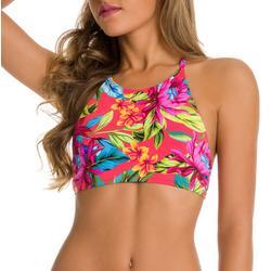 Juniors Jaq Tropical Floral High Neck Swim Top